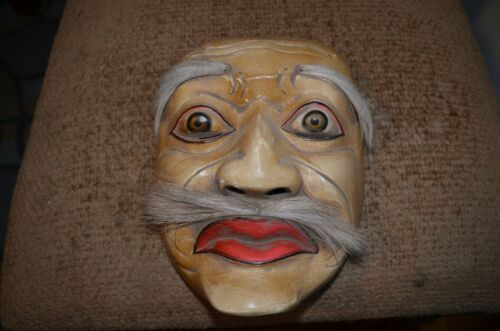 vintage hand carved Wood Mask Kabuki Japanese with horse hair