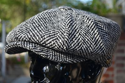 Black Tweed 100% Wool Applejack 8Panel Newsboy Cabbie Driving Hat Cap Ns1594