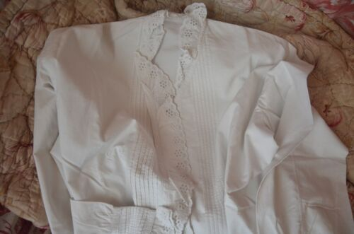 Antique French pure soft cotton lace frill blouse, LL monogram