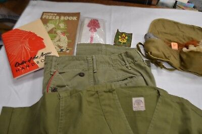 Lot of Boy Scout--Shirt, Pants, Sash, Fire-Starter Kit, 2 Books and 2 Patches