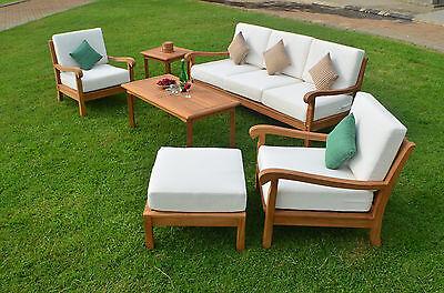 Garden Furniture - 6 PC LARGE TEAK WOOD GARDEN INDOOR OUTDOOR PATIO SOFA SET FURNITURE POOL NAPA