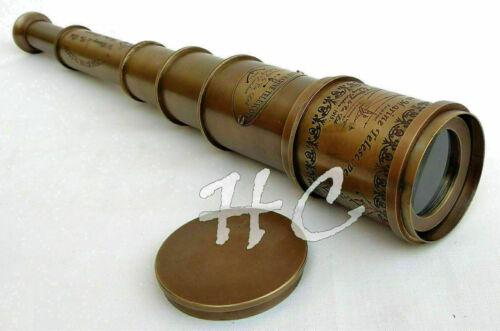 "Antique Brass Victorian Marine Telescope 18"" Maritime Nautical Spyglass Gift"