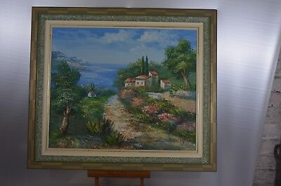 ANTIQUE FRAME WOOD PAINTING ON CANVAS OIL SIGN NATURE THE PROVENCE