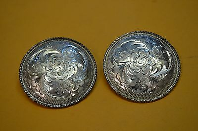 FLEMING STERLING SILVER Fine Hand Engraved Rosette Conchos for Headstalls -