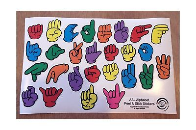 Asl American Sign Language Fingerspelling Stickers   Restickable Reusable Rep