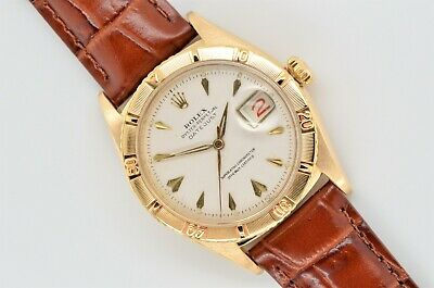1955 Vintage Rolex Datejust Thunderbird Turn-o-Graph 18k Yellow Gold 6309 Watch