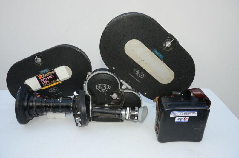 Arriflex S 16mm Camera w/ Angenieux Paris Zoon Lens, Battery & 2 Magazines