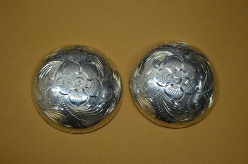 Fleming HIGH DOME Sterling Silver Desert Rose Engraved Western Saddle Conchos