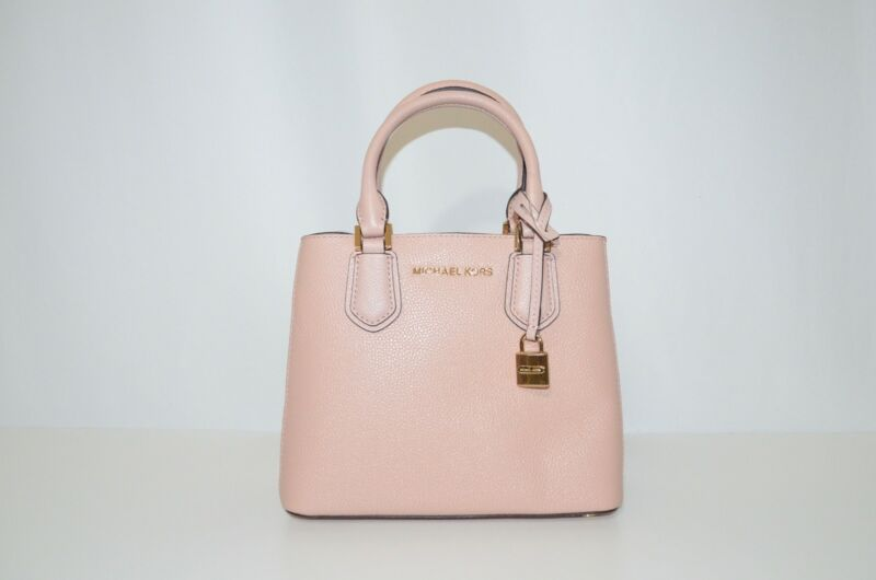 b6de81fd1bdfe1 New Michael Kors Adele Mercer Medium Messenger Bag Pastel Pink Ballet  Leather