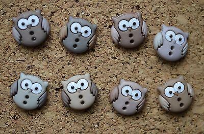 8 CUTE BUTTON OWL bulletin board pushpins, thumbtacks, or magnets