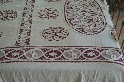 Spectacular Antique French Art Nouveau tape lace and tulle bed cover