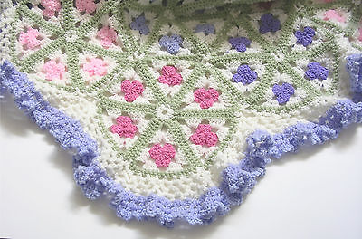 "Granny Square Handmade Crochet Afghan Hexagon Throw 62"" X 62"" Gift"