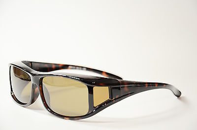 Überbrille Sonnenbrille über Brille Coverbrille Sun-Cover braun groß Neu