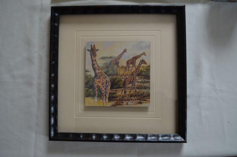 GIRAFFES by Peter Blackwell Framed 3D effect Wall Hanging African Art Print