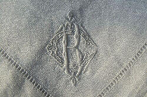 6 Antique French pure linen damask weave floral dinner napkins, BC monograms