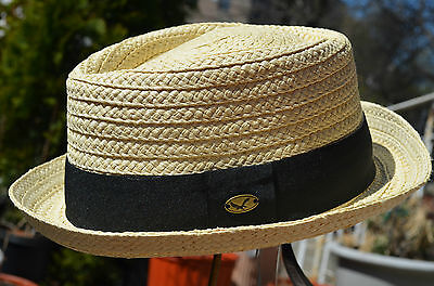 Classic Straw Raffia Diamond Crown Stingy Brim Porkpie Fedora Summer Hat (Raffia Classic Hat)