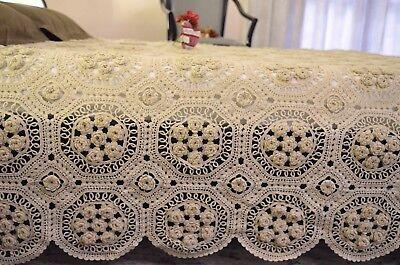 Copriletto per Letto Matrimoniale Lavorato a Mano all'Uncinetto - 100% Cotone