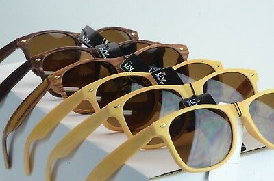 WHOLESALE CELEBRITY WOOD LOOK ARMS WITH SPRING TEMPLES AMBER LENS      (Wood Sunglasses Wholesale)