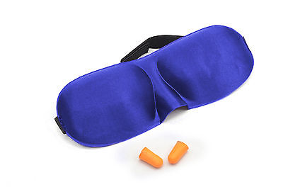 Blue Sleeping Mask Blindfold with Earplugs Sleep Aid Eye Cover Soft Travel Shade