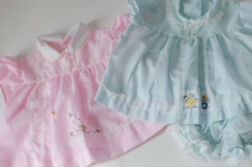 Vintage BEAUTIFUL Baby Girl EMBROIDERED Lace Collar, Lot of 2 Dresses