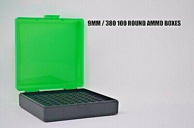 5 X BERRY/'S PLASTIC STORAGE AMMO BOX SMOKE COLOR 9MM//380 ACP 100 rd