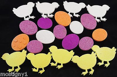 Kids Crafts - Easter/Spring Eggs & Chicks Thick Foam Glitter Stickers  - Kids Spring Crafts