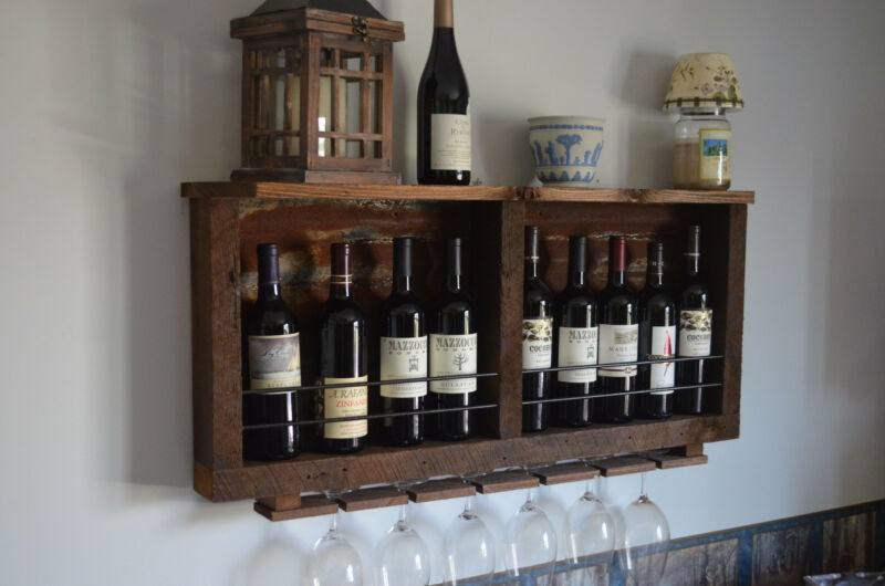 10 bottle Barn wood with Tin backing wine rack &  Shelf