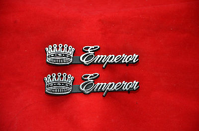 2 BRAND NEW CADILLAC EMPEROR METAL CHROME EMBLEM DEVILLE ELDORADO SEVILLE CROWN