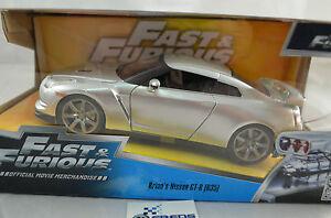 1:24 Jada Nissan Skyline GTR R35 Brian's Fast and Furious Silver Diecast model
