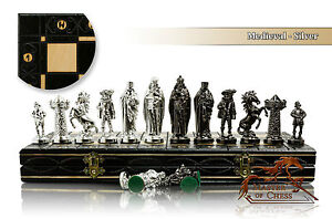 Luxury MEDIEVAL SILVER Chess Set 40cm / 16