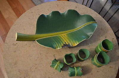 Salad Bowl & Napkin Holders. Party Palm Tree Leaves. Tropical Monstera Leaves -