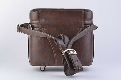 EXC++ VINTAGE CLASSIC 1970s ROLLING LEATHERETTE CAMERA CASE w/WHEELS & STRAP