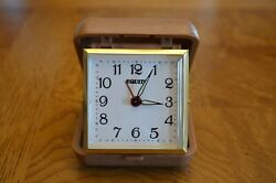 Travel Alarm Clock Equity 2.5 Brass - Gold, Brown Tan Case Work great WInd Up