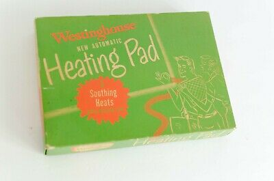 Vintage Westinghouse Heating Pad, 1950s Green Box Illustrations MCM Fonts PROP