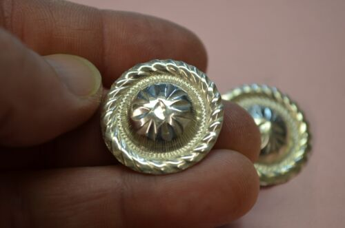 """STERLING SILVER Engraved High Domed 1"""" Mini Concho EARRINGS w/ Rope Border"""