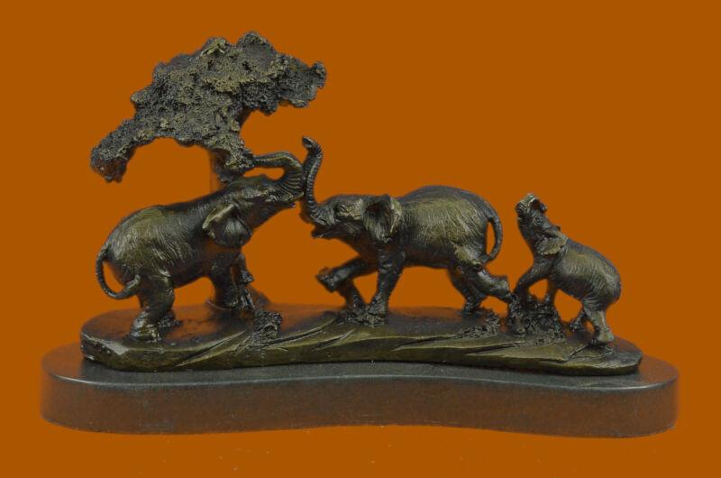 Signed Barye Elephant Family Pack Bronze Sculpture Art Deco Hot Cast Decorative