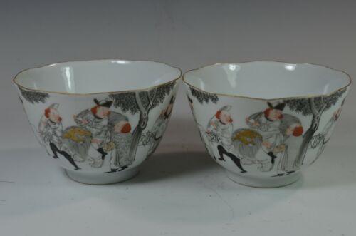 ⭕️ Pair 19th Century Antique Chinese Export Bowls, European Subject