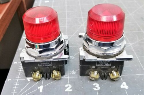 (2) Cutler Hammer Eaton 10250T RED Indicator Lights NEMA 4 4X 13 [A2BA]