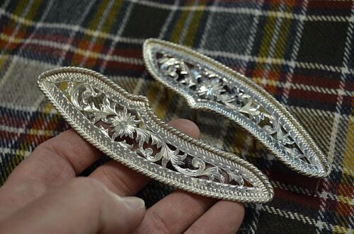 Fleming Sterling Silver Floral Filigree SHOW SADDLE TRIM PLATES *RARE very fancy