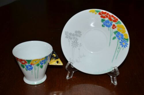 RARE SHELLEY ART DECO MODE TEA CUP&SAUCER FLOWERS WITH BUTTERFLY HANDLE