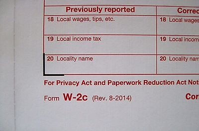 8 Forms W-2c Irs Corrected Wagetax Statement 3 W-3c Transmittal Forms