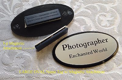 Large Oval Employee Name Badge Tag Silver W Black Plastic Frame Magnet
