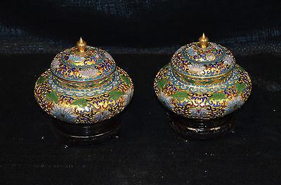 Paar Deckelvasen, Cloisonné, vergoldet, flor. Dekor, Holzsockel, H:14cm