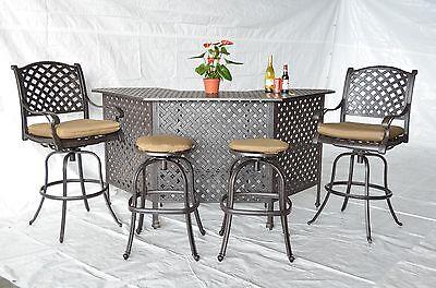 Nassau Patio - Nassau Outdoor Patio 5pc Party Bar Set Cast Aluminum Dark Bronze