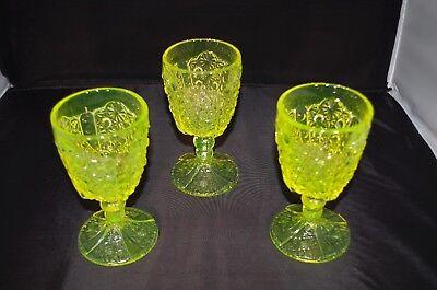 VASELINE GLASS (DAISY & BUTTON) GOBLETS (SET 3)