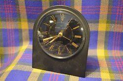 Vintage STUART AUSTIN Desktop Clock w/Quartz Clock in Black Frame