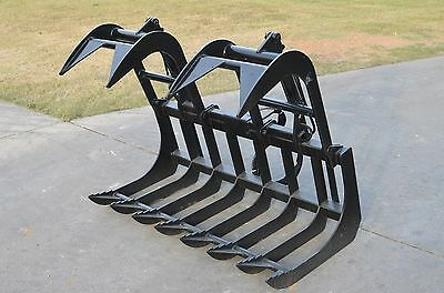 Skid Steer Attachment 60 Dual Cylinder Root Grapple Bucket - Free Shipping