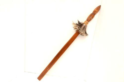 New Zealand Spear Fighting Taiaha Wooden Engraved Staff Club Maori art tribal