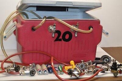 Portable Kegerator Beer Jockey Box Tap Keg Double Faucet Cooler