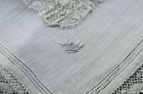 Antique French finest linen batiste handkerchief, embroidered coronet, lace trim